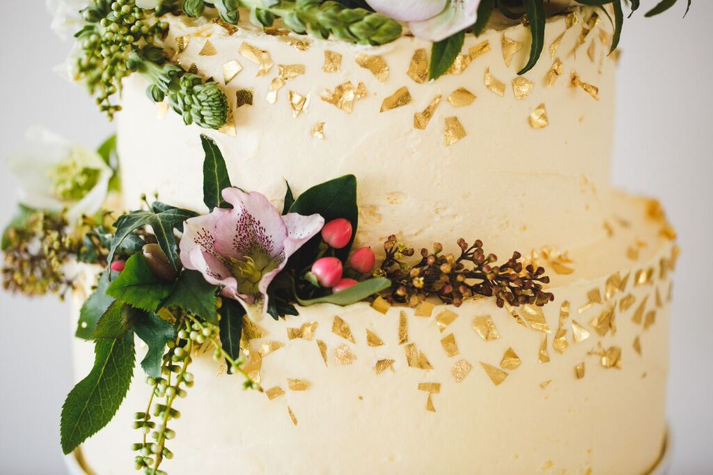 Dot and roy gold flake wedding cake